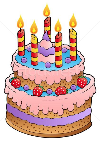 торт свечей клубники дизайна фрукты свечу Сток-фото © clairev