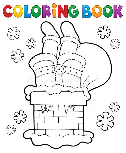 Coloring book chimney with Santa Claus Stock photo © clairev