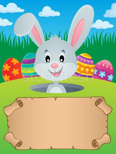 Pergamino Conejo de Pascua papel huevo vacaciones cabeza Foto stock © clairev