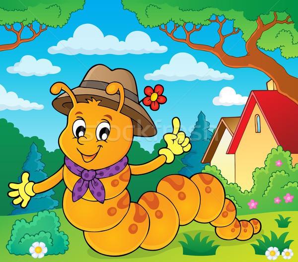 счастливым Caterpillar изображение весны искусства рисунок Сток-фото © clairev