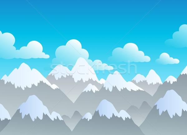 Hegy tájkép tél hegyek felhő rajz Stock fotó © clairev
