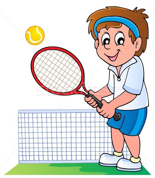 Rajz teniszező mosoly férfi sport sportok Stock fotó © clairev