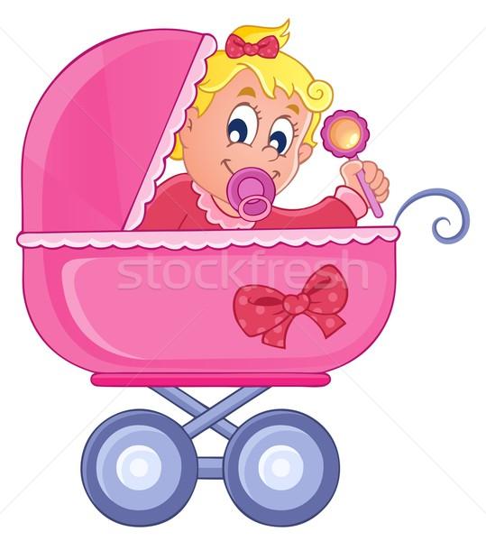 Kinderwagen afbeelding baby glimlach kind kunst Stockfoto © clairev