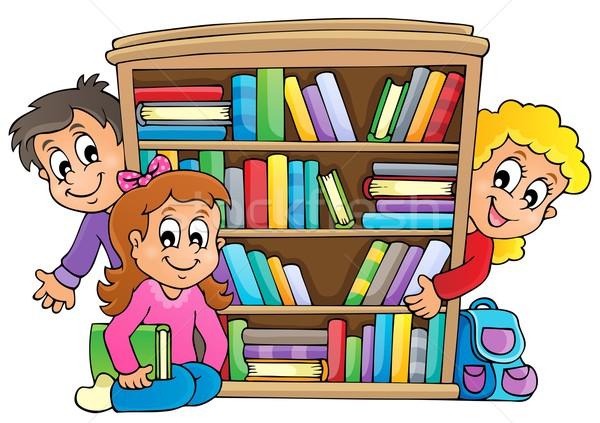 Obraz uśmiech dzieci książek szkoły projektu Zdjęcia stock © clairev