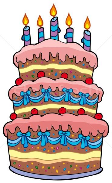 Big Cartoon Cake With Candles Vector Illustration 169 Klara