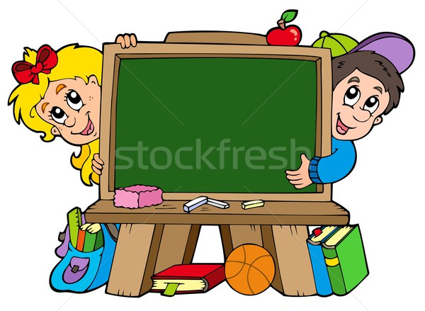 School chalkboard with two kids Stock photo © clairev