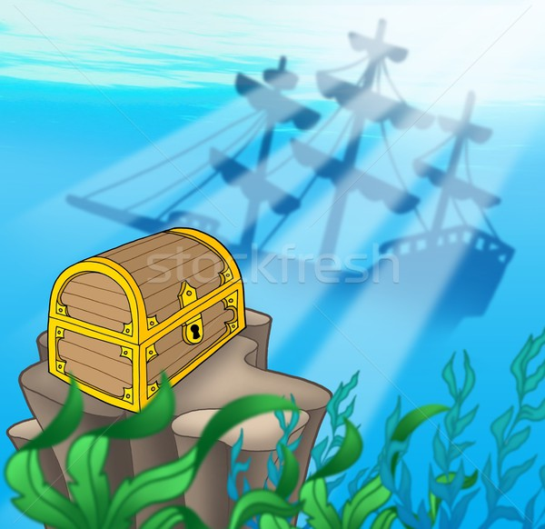 Naufrágio cor ilustração água mar Foto stock © clairev
