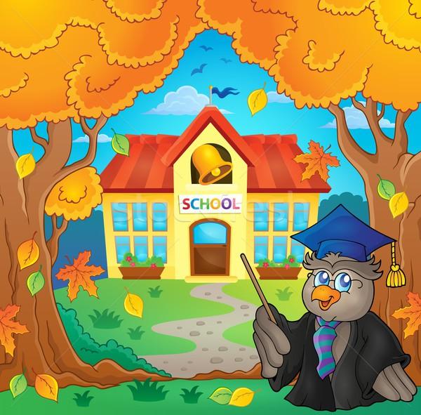 Owl teacher near school building theme 2 Stock photo © clairev