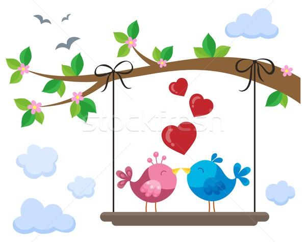 Stok fotoğraf: Valentine · kuşlar · tahta · altında · şube · bulutlar