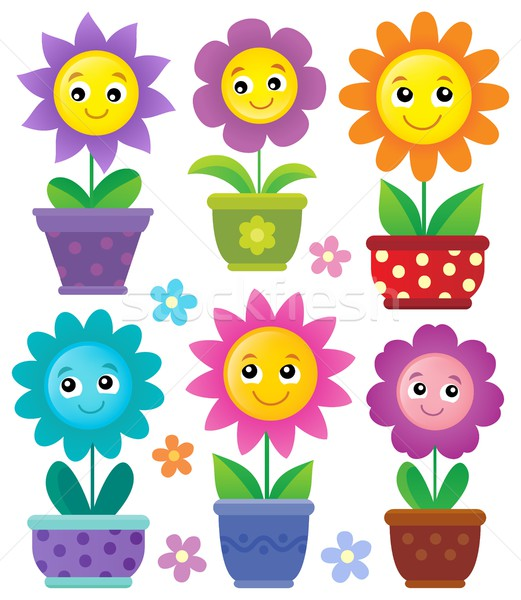 Stock photo: Flowerpots with smiling flowers set 1