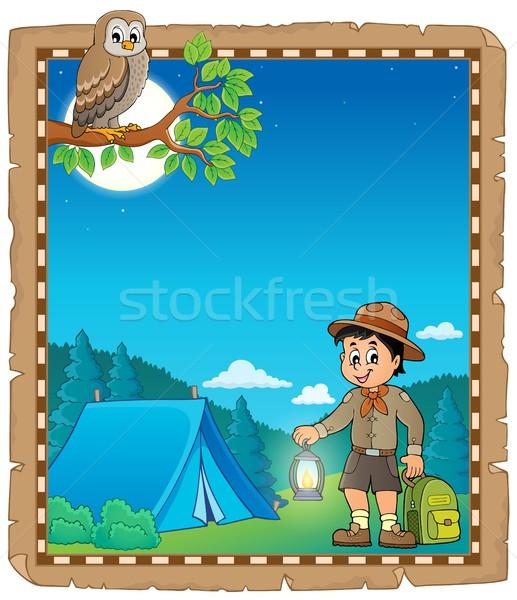 羊皮紙 スカウト 少年 幸せ 子 光 ストックフォト © clairev
