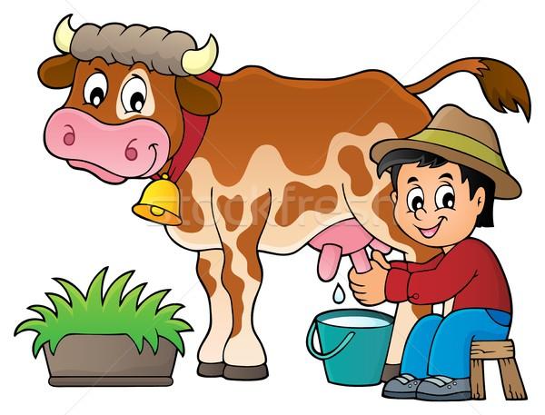 Farmer milking cow image 1 Stock photo © clairev