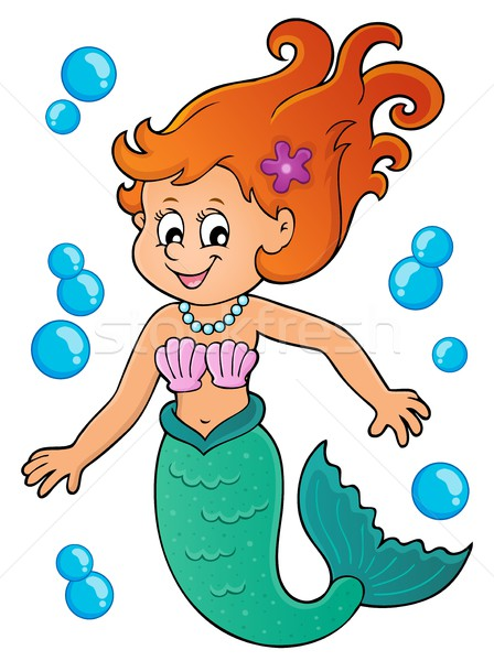 Zeemeermin onderwerp afbeelding meisje glimlach zee Stockfoto © clairev
