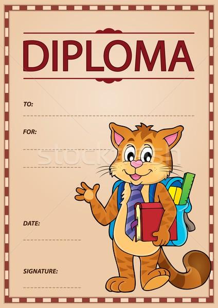 Diploma görüntü kâğıt kitap okul kedi Stok fotoğraf © clairev