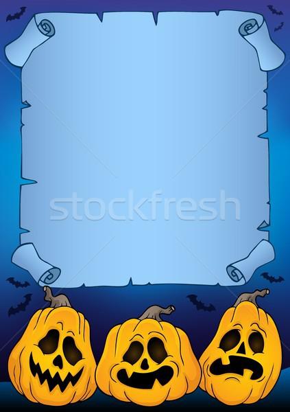 Foto stock: Pergamino · halloween · calabazas · papel · noche · otono