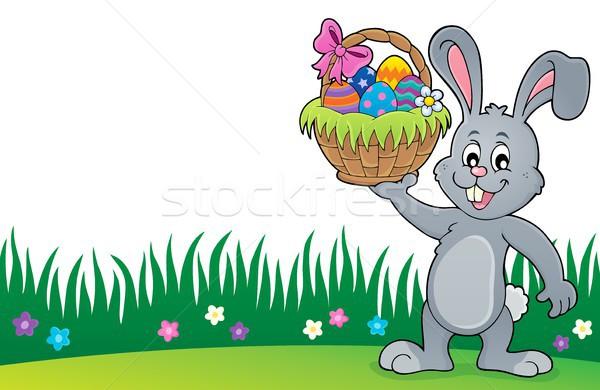 Bunny Пасху корзины тема счастливым Сток-фото © clairev