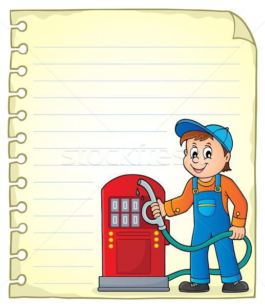 Bloco de notas página posto de gasolina trabalhador negócio papel Foto stock © clairev