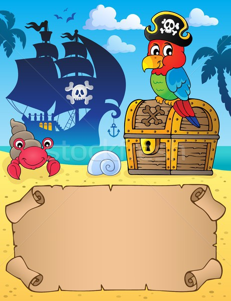 Small parchment with pirate parrot Stock photo © clairev