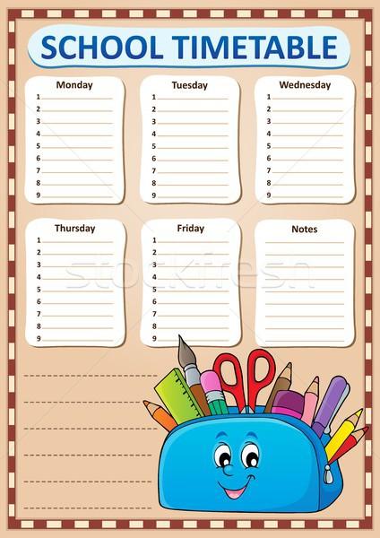 Hebdomadaire école calendrier modèle visage crayon Photo stock © clairev