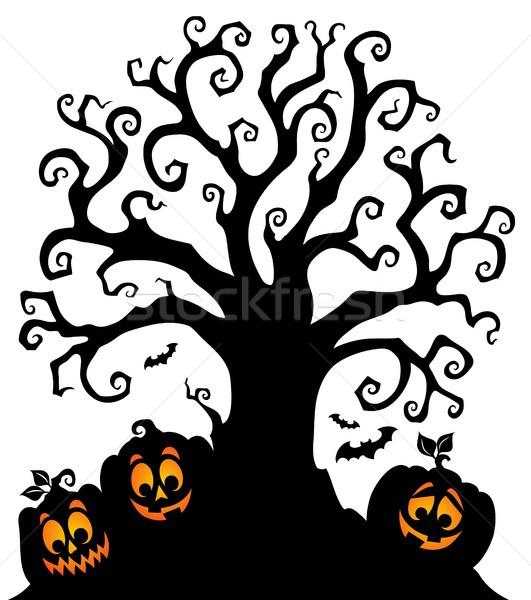 Stock fotó: Halloween · fa · sziluett · téma · ősz · árnyék