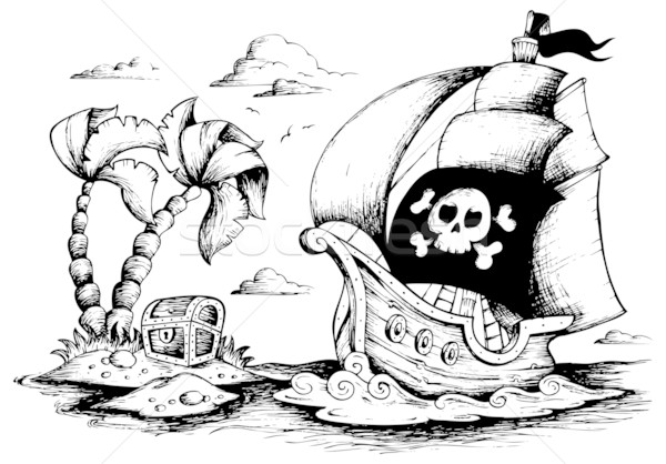 Drawing of pirate ship 1 Stock photo © clairev