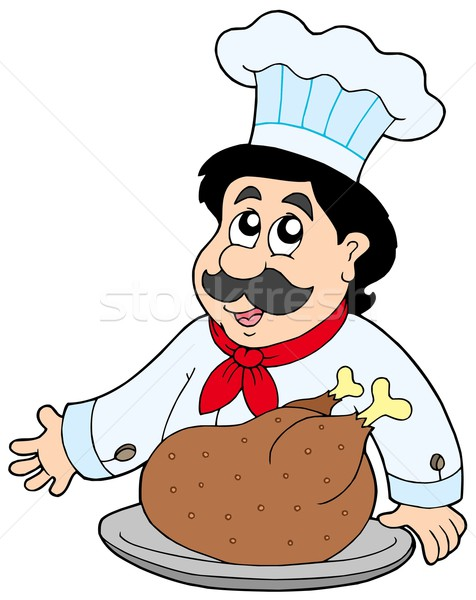 Cartoon chef with roasted meat Stock photo © clairev