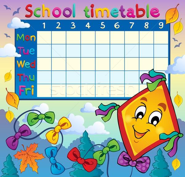 Escolas horário imagem projeto folha arte Foto stock © clairev