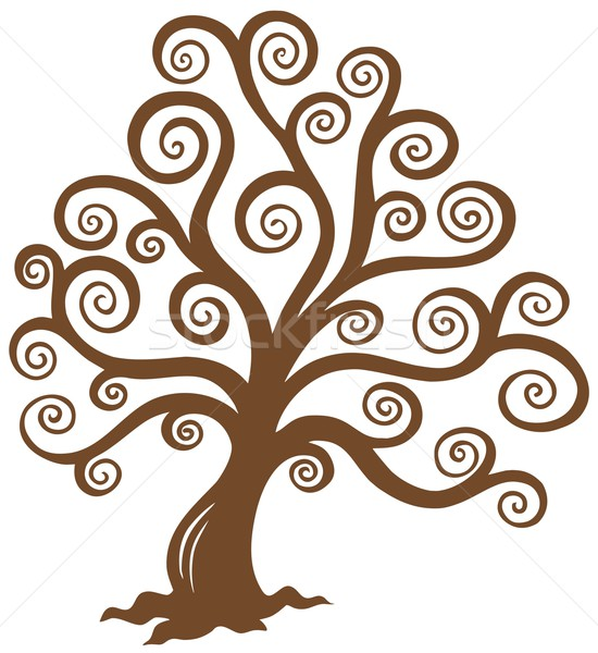 Stock photo: Stylized brown tree silhouette