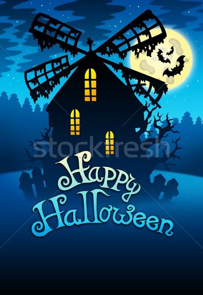 Misterioso halloween mill colore illustrazione casa Foto d'archivio © clairev