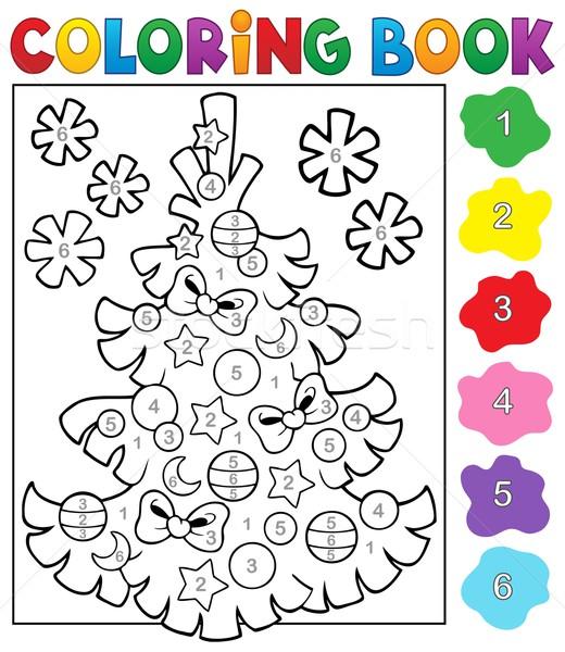 книжка-раскраска рождественская елка тема книга краской искусства Сток-фото © clairev
