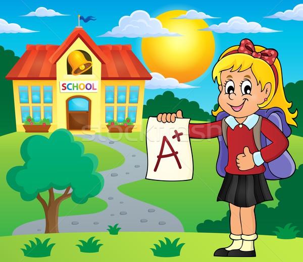 School girl with A plus grade theme 2 Stock photo © clairev
