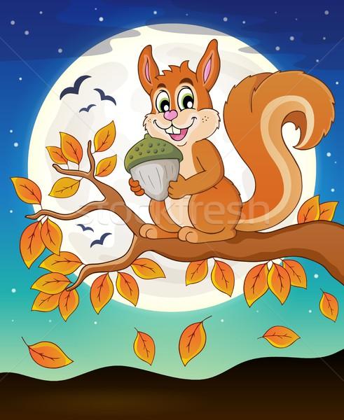 ősz ág mókus mosoly természet hold Stock fotó © clairev