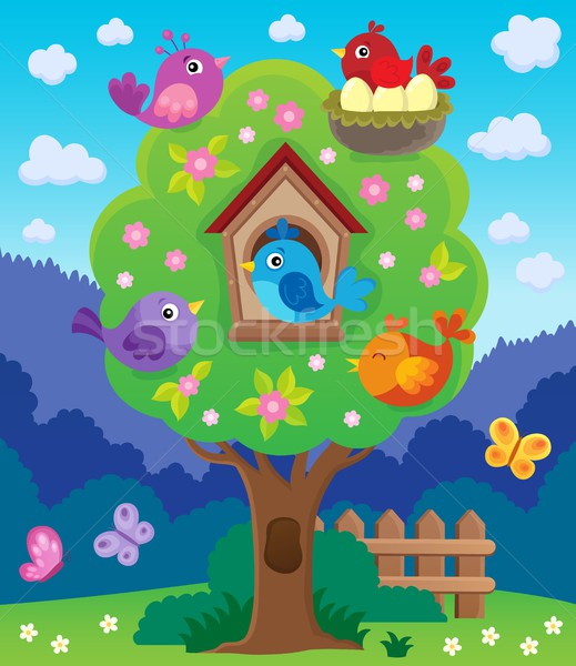 Tree with stylized birds theme image 4 Stock photo © clairev
