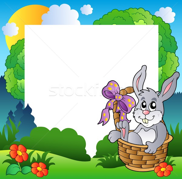 Easter frame with bunny in basket Stock photo © clairev