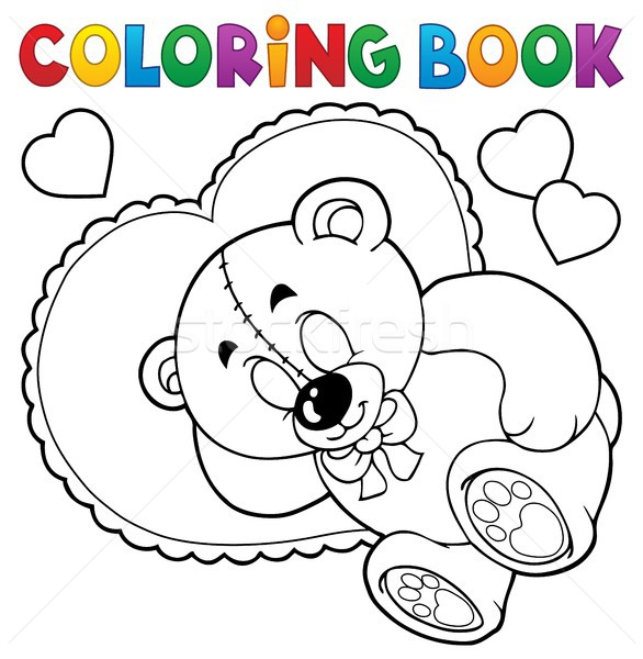 Stock photo: Coloring book teddy bear theme 2