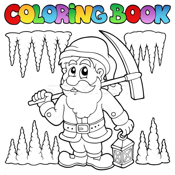 Coloring book cartoon dwarf miner Stock photo © clairev
