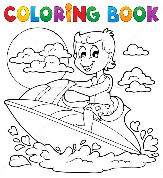 Coloring book water sport theme 2 Stock photo © clairev