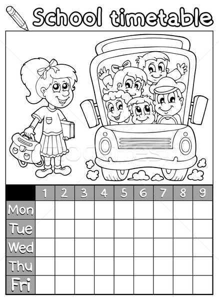 Coloring book school timetable 7 Stock photo © clairev