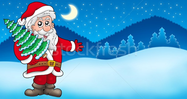 Stock photo: Landscape with Santa Claus 5