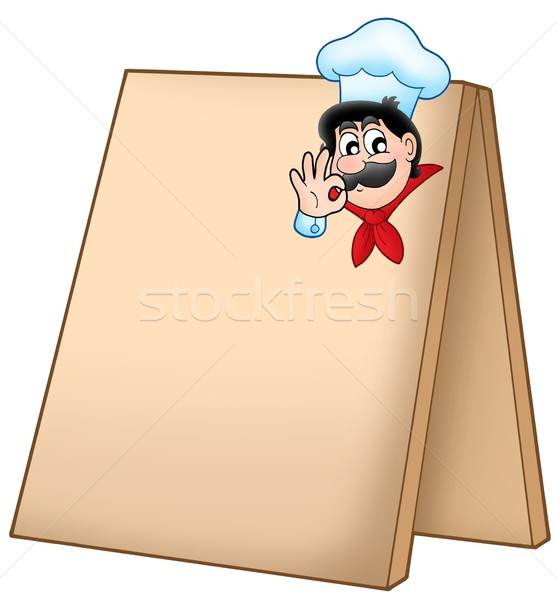 Menu board with cartoon chef Stock photo © clairev