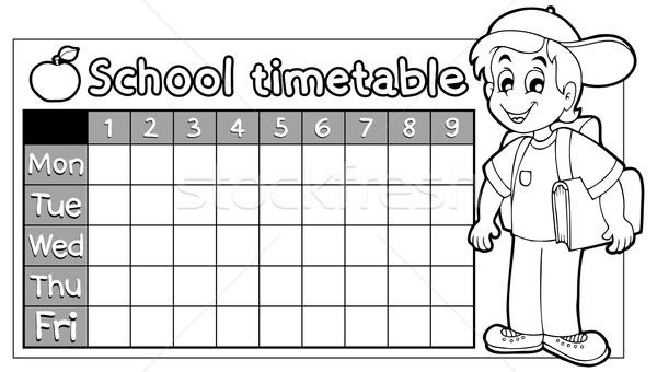 Kleurboek school dienstregeling glimlach boek ontwerp Stockfoto © clairev