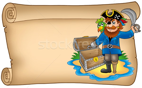 Old scroll with pirate Stock photo © clairev