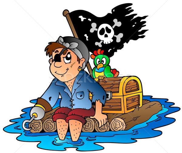 Cartoon pirate sailing on raft Stock photo © clairev