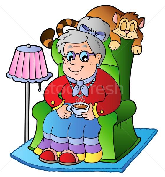 Cartoon babci posiedzenia fotel kobieta uśmiech Zdjęcia stock © clairev