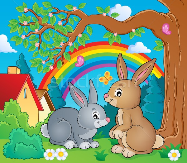 кролик тема изображение искусства радуга Bunny Сток-фото © clairev
