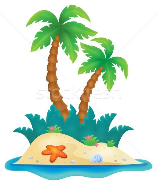 Tropisch eiland afbeelding natuur kunst palm oceaan Stockfoto © clairev