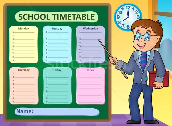 Hebdomadaire école calendrier homme table classe Photo stock © clairev