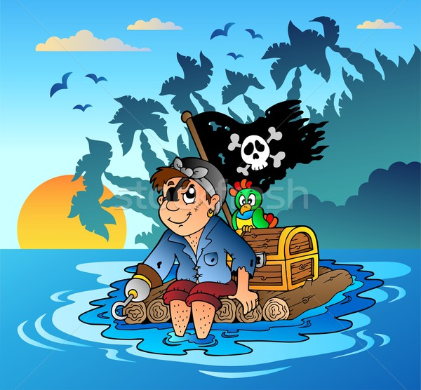 Pirate sailing on wooden raft Stock photo © clairev