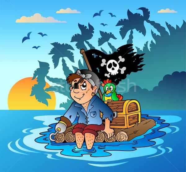 Piraat zeilen houten vlot water zonsondergang Stockfoto © clairev