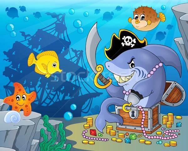 Piraat haai schat hout oceaan tanden Stockfoto © clairev